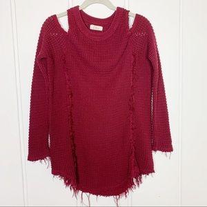 Elan Wine Maroon Knit Fringe Cold Shoulder Sweater